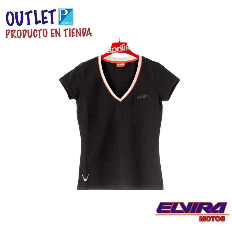 Camiseta de Mujer Negra de Algodón con escote en V