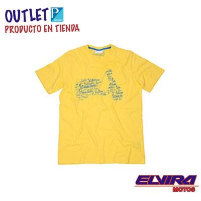 Camiseta Hombre Vespa Retro Amarillo