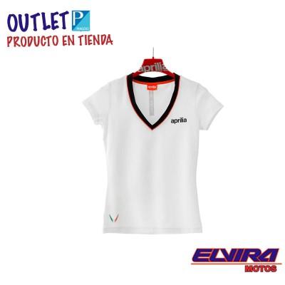Camiseta de Mujer Blanca de Algodón con Escote en V