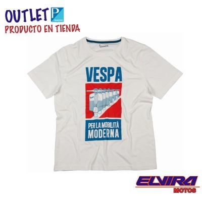 Camiseta Hombre Póster Mobilita Vespa Blanco