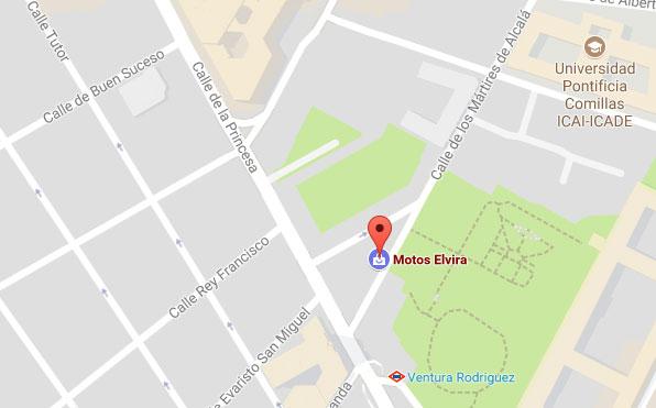 Mapa de situación de la tienda y taller Motos Elvira